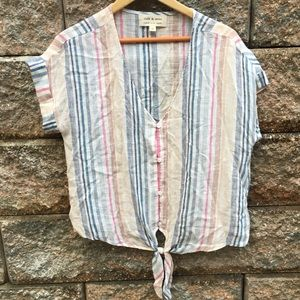 Cloth & Stone Striped Tie Front Blouse